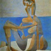 añista sentada a la orilla del mar Picasso