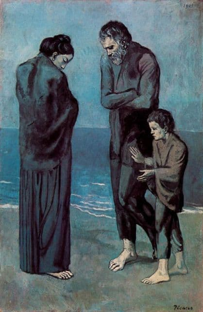 Mendigos a la orilla del mar