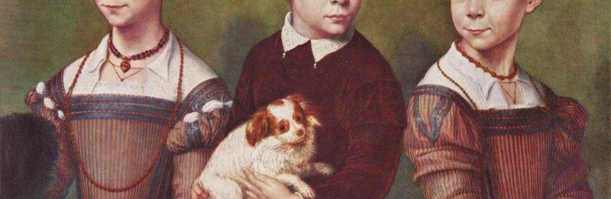 Tres niños con perro. Sofonisba Anguissola
