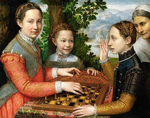 Lucia, Minerva y Europa Anguissola jugando ajedrez