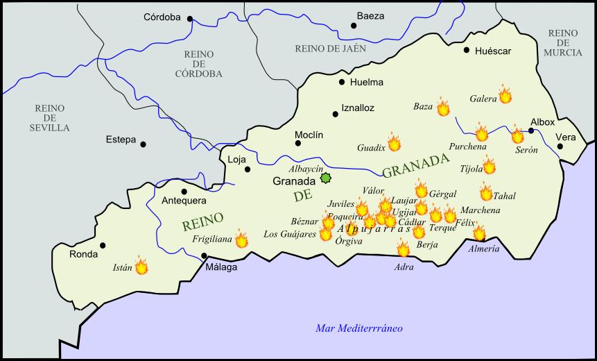 Mapa Rebelión de las Alpujarras